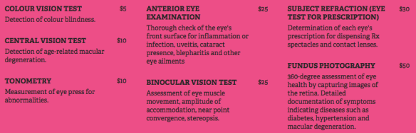 Comprehensive Eye Examination Menu
