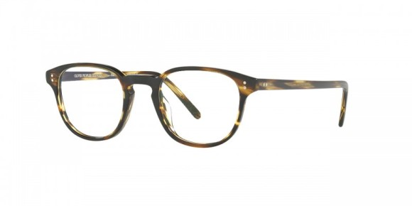 Oliver Peoples Fairmont 47 [OV5219F; Hickory Tortoise/Black]. Features thin acetate in modified P3 shape, layers of custom designed acetate in exclusive colors that result in the unique pattern of each individual frame, hand-laid functional pins for double adherence between frame front and hinge for additional strength and durability, durable hree-barrel hinge, and custom Oliver Peoples logo-engraved corewire reinforces integrity of the frame, allowing for long-lasting adjustments. Designed with the iconic Oliver Peoples aesthetic in mind.