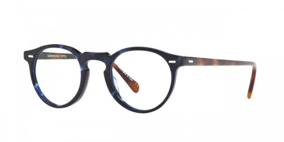 Oliver Peoples Gregory Peck [OV5186A; Cobalt Tortoise/Denim]. Features handcrafted layers of custom designed, exclusive acetate that results in the unique pattern of each individual frame, hand-laid functional plaques for double adherence between frame front and hinge to ensure ultimate strength and durability, durable three-barrel hinge, and Custom Oliver Peoples logo-engraved corewire reinforces integrity of the frame, allowing for long-lasting adjustments.