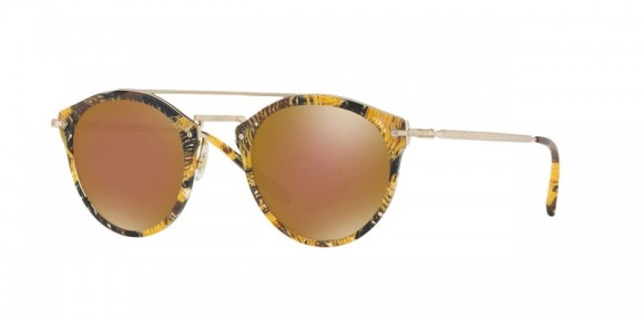 ALAIN MIKILI COLLABORATION! Oliver Peoples Remick [OV5349S; Palmier Soleil with Gold Bronze Lenses]. Features Alain Mikli 'Palmier' acetate, custom engraved filigree design, durable three-barrel hinge, and high quality mineral glass lenses with improved colour definition and contrast, anti-reflective coating and 100% UVA/UVB protection. Inspired by the iconic OP-505.