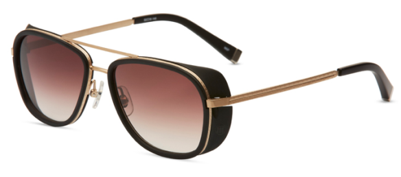 M3023 - Matte Black and Matte Gold with Brown Gradient Lenses