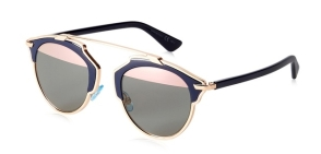 Christian Dior - DiorSoReal [Bleu Marine/Pink]. Features deconstructed pantos shape that harmoniously blends architectural lines and couture spirit; extremely lightweight acetate front; slender temples, details in pink gold-tone finished metal; and semi-mirrored pink lenses with 100% U.V. protection.