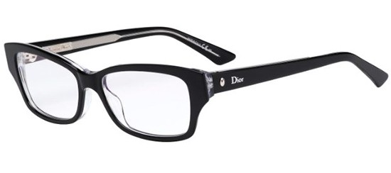 Christian Dior - Montaigne 10 [Black Crystal]. Features subtle cat-eye shape with crystal temples and the iconic Dior oval rivet.