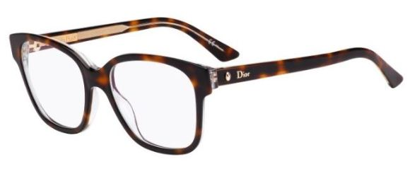 Christian Dior - Montaigne 8 [Havana Crystal]. Features crystal temples and the iconic Dior oval rivet.
