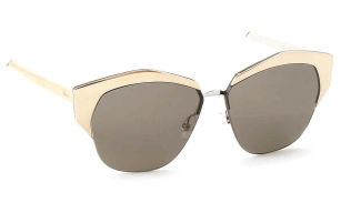 Christian Dior - DiorMirrored [Gold]. Features geometric, hexagonal shape and soft brown lenses with 100% U.V. protection.