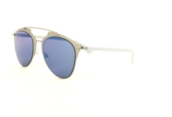 Christian Dior - DiorReflected [Light Ruthenium/White/Blue]. Features reinterpreted pantos shape in mix of materials; veneer of ruthenium-tone galvanised metal topped with graphic double bridge on the front; temples in fine white acetate; and shaded blue lenses with 100% U.V. protection.