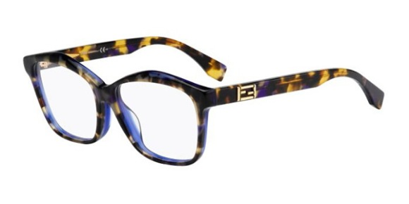 Fendi – FF0093 [Yellow Violet Havana]. Features angular geometry in fine handmade acetate with the iconic Fendi logo in gold.
