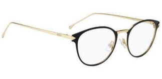 Fendi – FF0167 [Fog/Black Gold]. Part of the Facets collection, features the hot round shape in acetate-plated metal, with sleek metal temples.