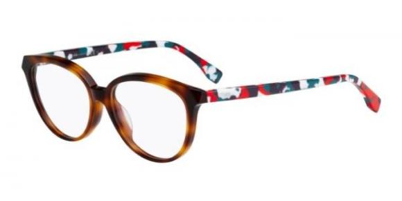 Fendi – FF0189 [Havana Multi]. Part of the Chromia collection, features fine handmade acetate with design inspired by classic Italian marble.