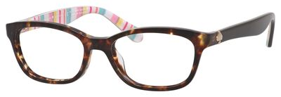 Kate Spade - Brylie [Havana Multi-Stripes]. Features fun shape with vibrant colours, playful design, long-lasting acetate, spring hinges for balance and stability, and Kate Spade logo.