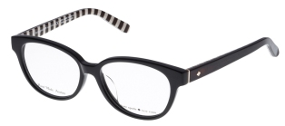 Kate Spade - Fawn [Black/Black Stripes]. Features handmade acetate and iconic Kate Spade stripes on inside arm, with Kate Spade logo.