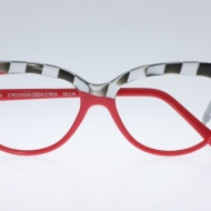"Wissing [2907HA/2765v2834/2765V]. Features unique diagonal ""half-frame"" design evoking race checkers on flaming red front."